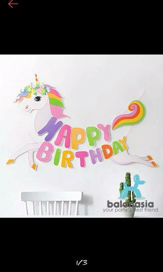 banner birthday unicorn