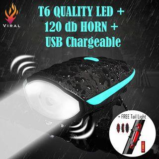 USB Rechargeable Front Bike Light with horn + Back Light Set #T6 high bright LED #120db horn #Water proof #3 Light Mode #5 Sound