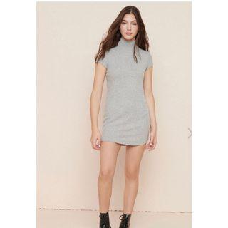 New Garage Ribbed Mock Neck T-shirt Dress