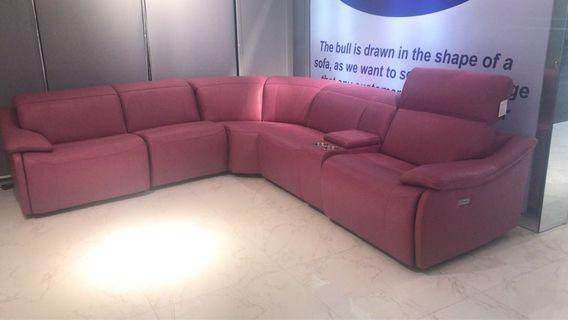 Italian TOP grain leather sofa with electronic recliner
