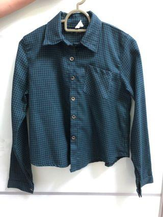 Dark green checkered Long sleeve Top
