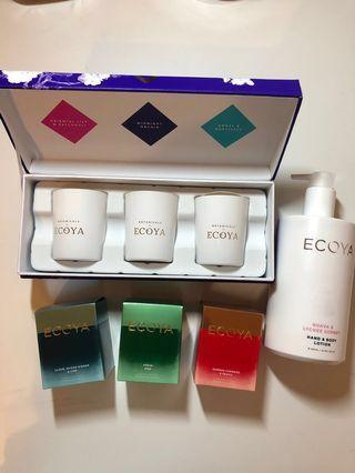 Ecoya Gift Set Bundle (Mini Botanic Candles Gift Box, 3x Candles, Hand & Body Lotion)