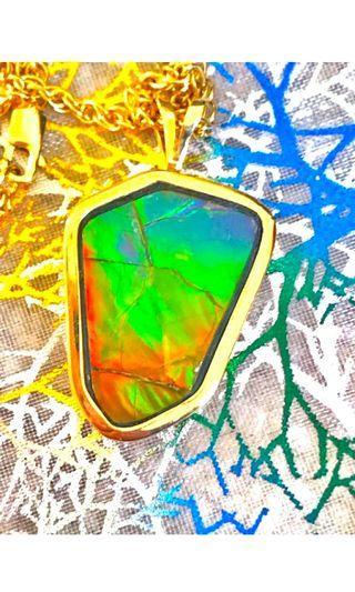 14 k gold Ammolite gemstone necklace