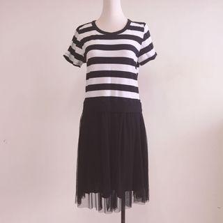 正韓 條T拼接紗裙洋裝