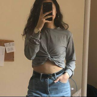 Heather Grey Twist Crop Top