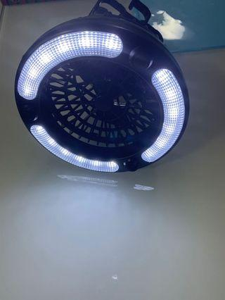 Camping fan with light