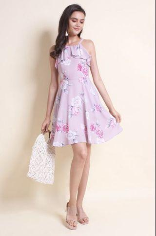 287a0548ad7 MADEBYNM NEONMELLO KATH FLORAL SKATER DRESS IN ROSE MAUVE