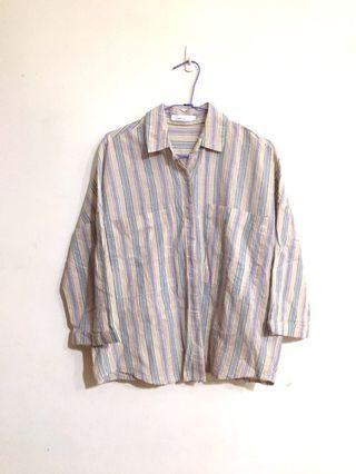 (降)彩色直紋襯衫