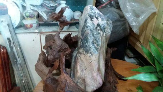 花蓮玫瑰石,百年樟木底座