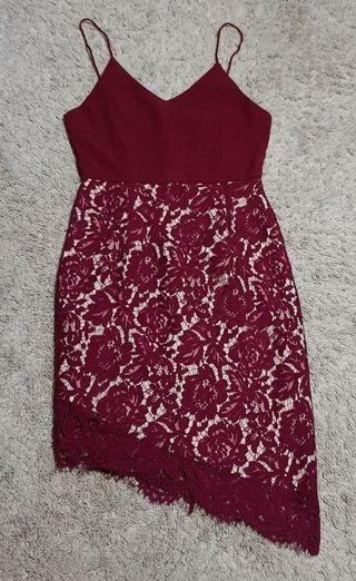 Maroon/dark red asymetrical hem nude illusion floral lace bustier v neck bodycon dress