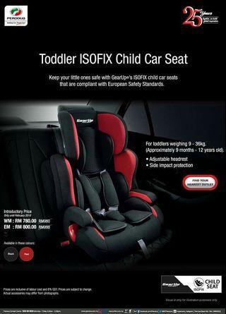 Toddler isofix child car seat