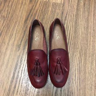 Wine red flats/ slip on 酒紅色真皮方便鞋