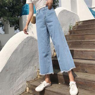 🚚 Korean Ulzzang Denim Jeans Culottes Wide Leg Pants High Waist Light Blue #EndgameYourExcess