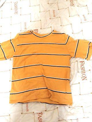 🚚 二手❤薑黃色條紋上衣