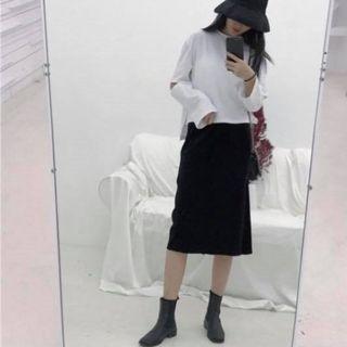 黑裙絨布長裙A字裙女裝開衩韓系日系