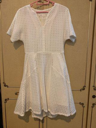 Korean white flare dress