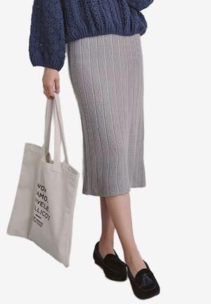 Eyescream Slit Midi Skirt