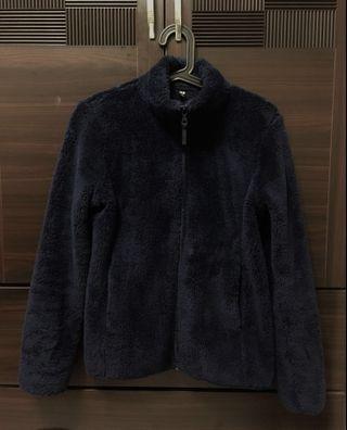 🚚 UNIQLO 深藍修身立領絨毛外套