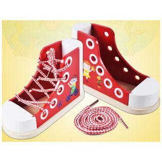 (Ready Stock)SN070 - Montessori DIY Lacing Wooden Sneaker Set (Tie a Shoelace) - Motor Skill Educational Toy