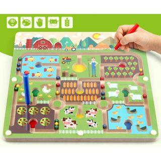(Ready Stock)SN071 - Wooden Montessori Magnetic Beads and Tracking Pen Maze Board Game (Farm Theme) - Motor Skill Educational Toy