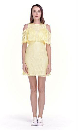 Yellow lace off shoulder dress