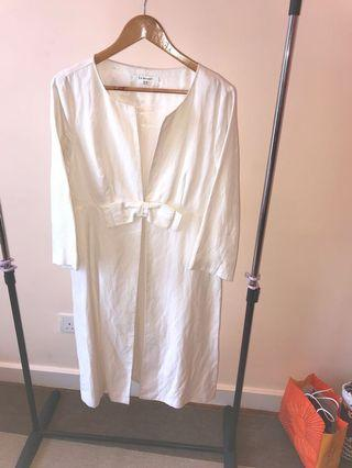 Off White knee length silk-linen-cotton jacket