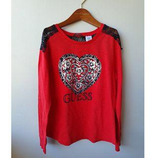GUESS Girls Lace Panel Long Sleeve Top Sz M 10/12 Years