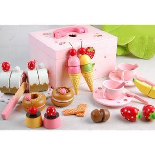 (Ready Stock)SN076 - Japanese Style Wooden Dessert Making Toy Set with Wooden Box - Cooking Role Play Educational Toy