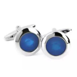 Round Blue Radial Dress Shirt Cufflinks Cuff Links Wedding Gift Jewelry Birthday Favor