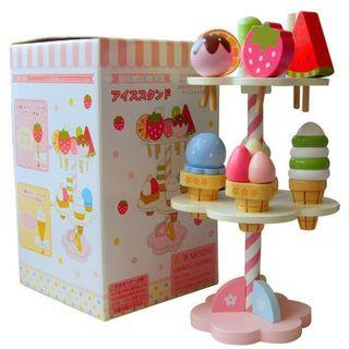 🚚 (Ready Stock)SN077 - Japanese Style Wooden Ice-Cream Set - Cooking Role Play Educational Toy