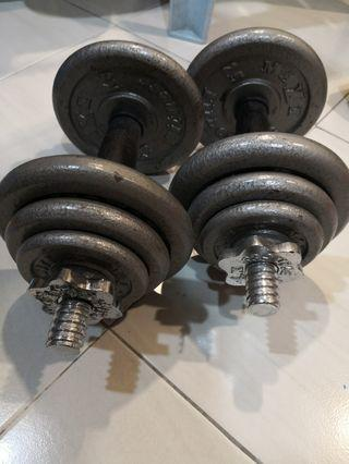 10KG Adjustable Cast Iron Dumbells (pair)