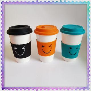 Petronas Syntium Smiling face Mugs Cup with lid & silicone handle 3pcs Gift box
