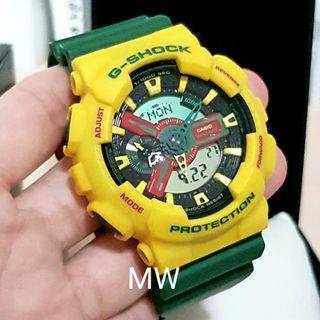 🚚 Casio original men g shock yellow green ga110rf watch brand new