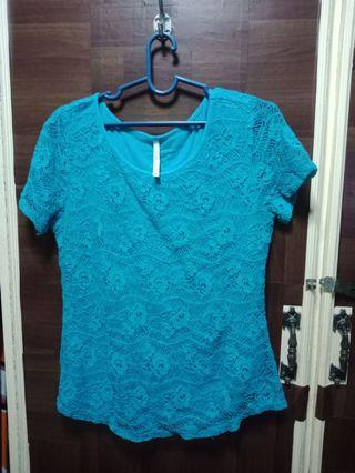 LACE TEAL BLUE TOP