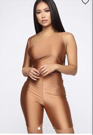 Fashionnova Bronze Backless Romper
