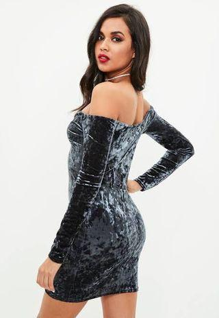 Missguided navy velvet long sleeve v bar bardot dress