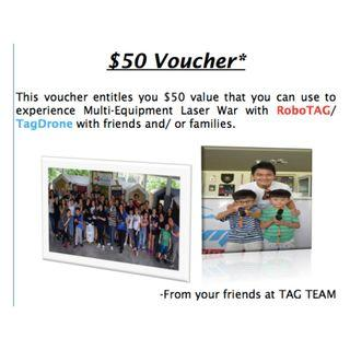 $10 for $50 voucher Multi-Equipment Laser War with RoboTAG/ TagDrone at www.tagteaminc.sg Tagteam