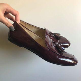 Zara Burgundy Patent Tassel Flats (EU39/AU8)