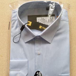 男裝免燙淺藍色直條男裝商務上班長袖恤衫 T shirt