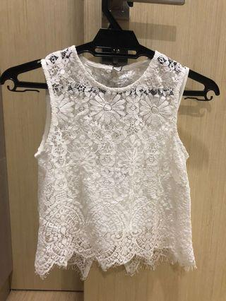 Love Bonito - White Lace Crop Top