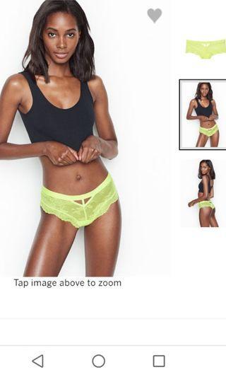 Victoria Secret neon lace yellow panties
