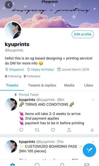 [NEW] Twitter account for fansupport printing ✨