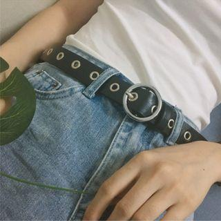 [PO] PU Leather Metal Eyelet Ring Belt