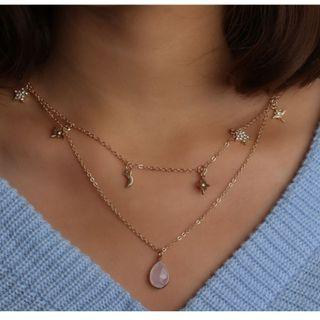 [PO] Layered Gold Choker Necklace with Gemstone and Stars