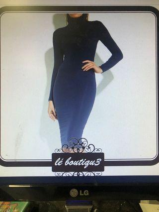 Mossman midi bodycon navy dress size 8