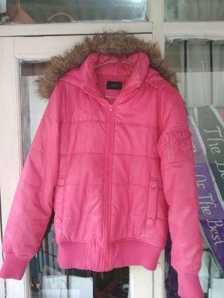 Jaket wanita pink tebal hoodie
