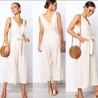 Beautiful New Linen Jumpsuits Size 6/8 - Natural Beige & Navy)