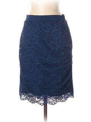 F21 Blue Lace Pencil Skirt