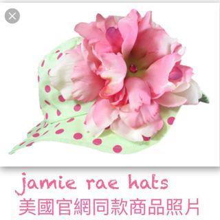 jamie rae hats綠底紅點大花女童帽