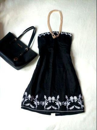 Mango  Embroidered Black Tube Dress US Small